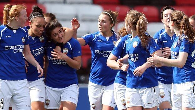 Andria Georgiou congratulated after scoring for London Bees