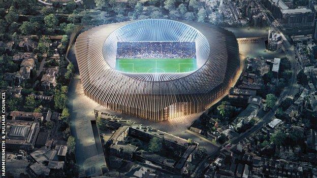 Artist's impression of the proposed new Stamford Bridge