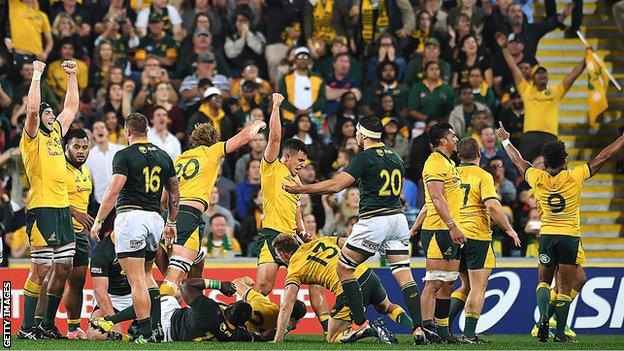 Australia had to withstand some late pressure before celebrating victory