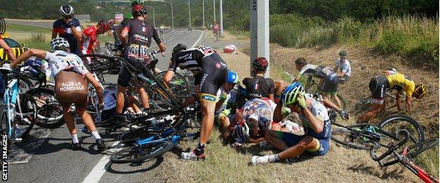Tour de France riders after the big crash during stage three on Monday