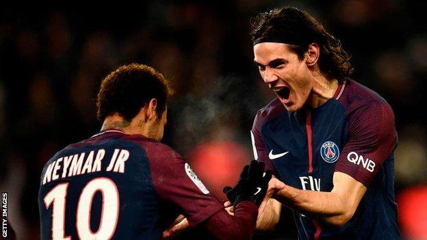 PSG's Neymar and Edinson Cavani