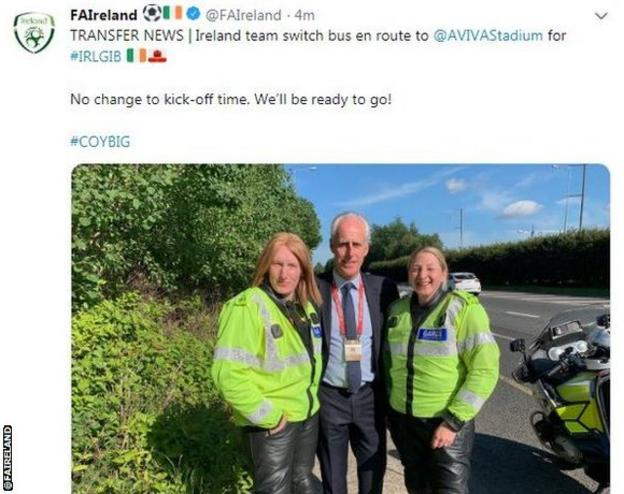 Mick McCarthy posed with members of the Republic's police escort