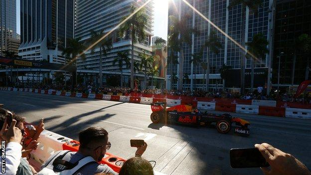Red Bull car at a Miami F1 show
