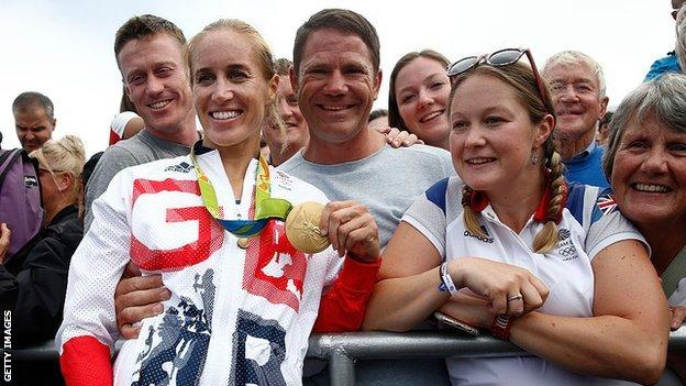 Helen Glover and family in Rio in 2016