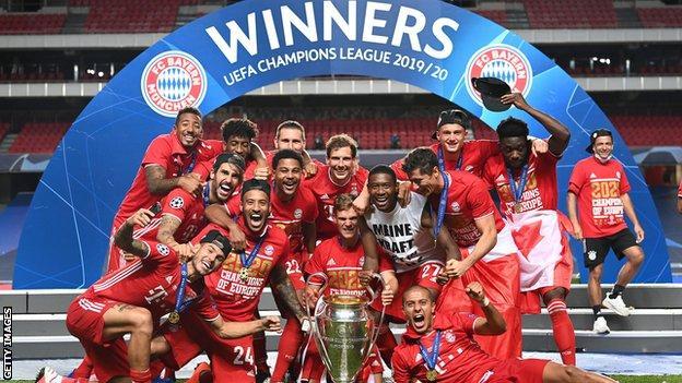 Bayern celebrate winning the Champions League