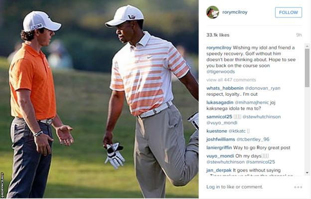 World number three Rory McIlroy's social media post supporting Tiger Woods