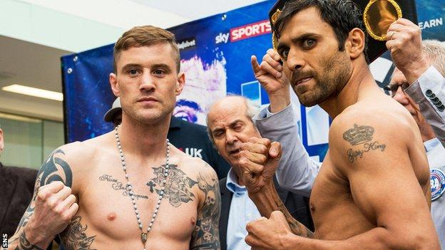 Ricky Burns and Michele di Rocco square up at the weigh-in