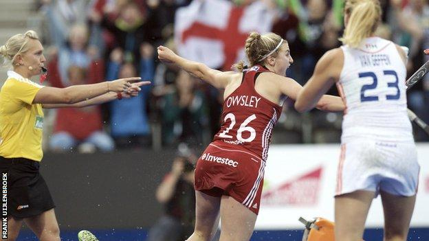 Lily Owsley celebrates after scoring against the Netherland at the European Championships