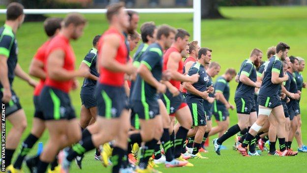 Wales squad train at their base near Cardiff