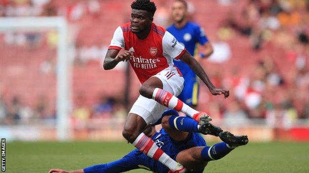 Thomas Partey injuring his ankle in a challenge with Ruben Loftus-Cheek