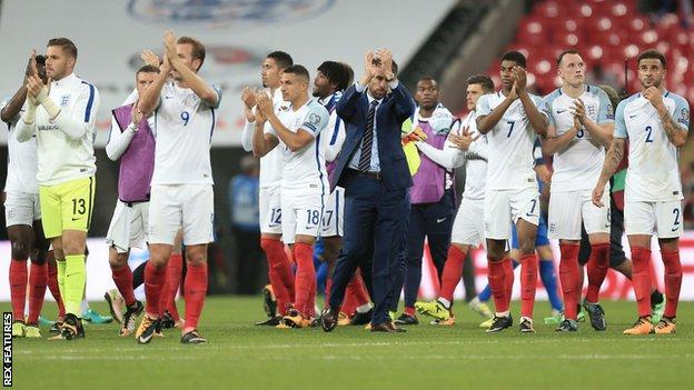 England's players applaud the crowd at Wembley