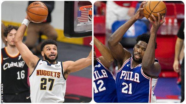 Denver's Jamal Murray and Philadelphia's Joel Embiid