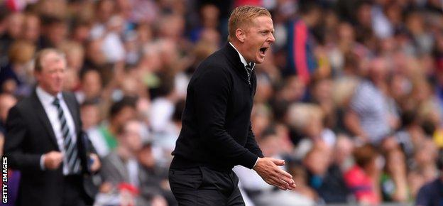 Garry Monk urges Swansea on during the 2-0 win over Newcastle last weekend