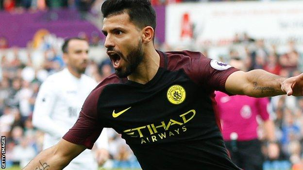 Manchester City striker Sergio Aguero celebrates scoring against Swansea City