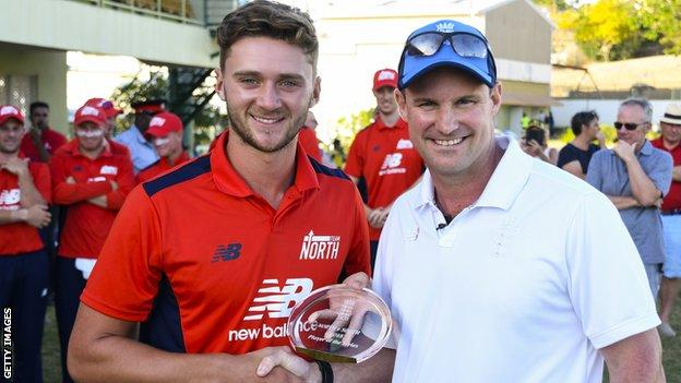 Worcestershire and North player Joe Clarke gets North-South 2018 player of the series award from Andrew Strauss