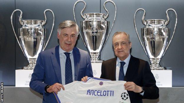Carlo Ancelotti with Real Madrid president Florentino Perez