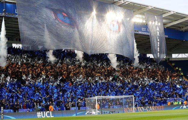 Leicester fans ahead of Atletico Madrid tie