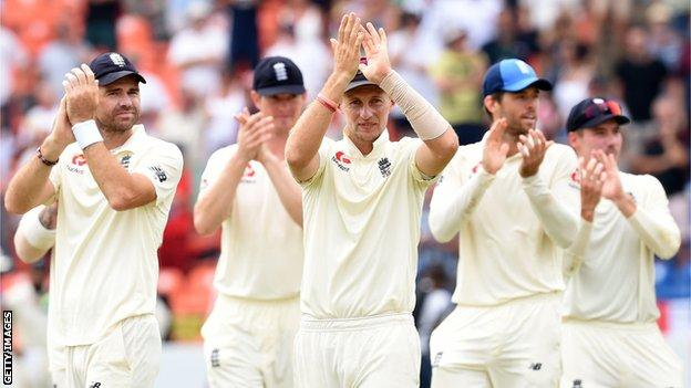 England captain Joe Root and his team-mates celebrate victory