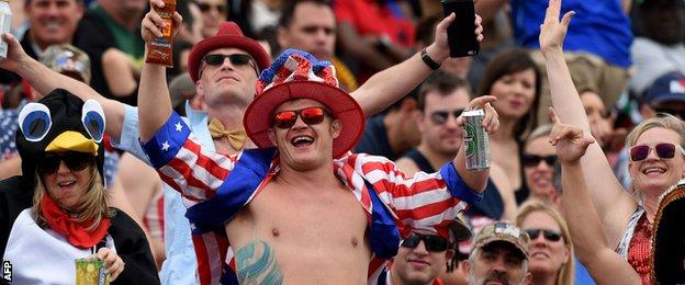 Fans at the Las Vegas World Rugby Sevens