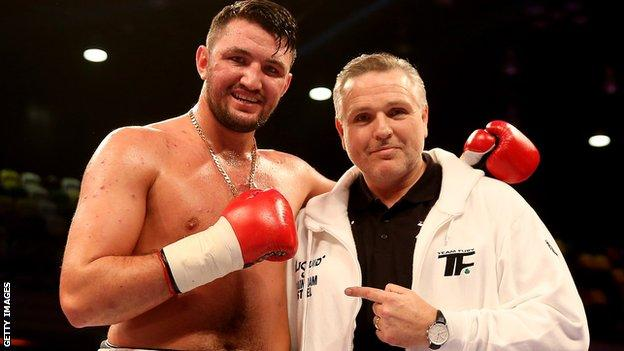 Peter Fury (right) has overseen the training of both his son Hughie (pictured) and nephew Tyson