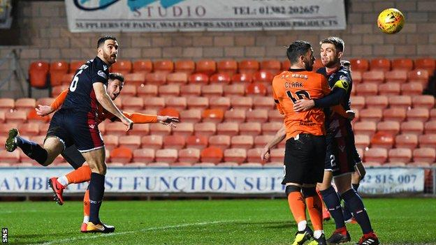 Calum Butcher heads Dundee United into the lead