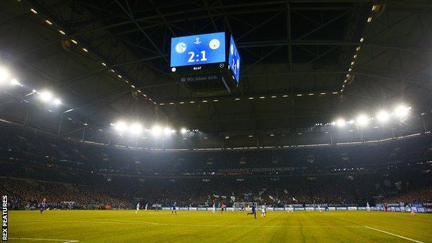 Schalke's Veltins Arena home in Gelsenkirchen holds 62,000 fans