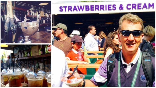 Champagne, Pimm's and strawberries at Wimbledon