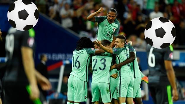Portugal celebrate scoring in the semi-final of Euro 2016 against Wales