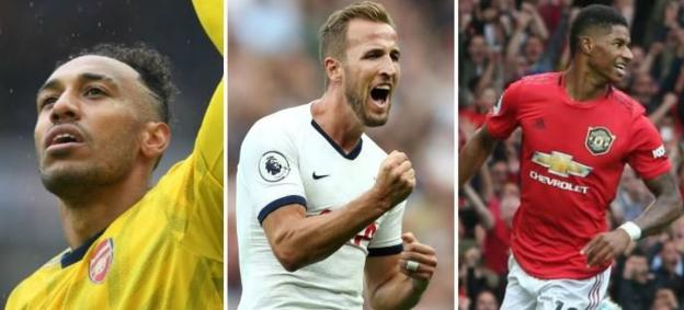 Arsenal's Pierre-Emerick Aubameyang, Tottenham's Harry Kane and Marcus Rashford of Manchester United