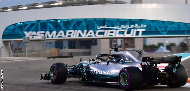 December: Lewis Hamilton at the Yas Marina circuit in Abu Dhabi