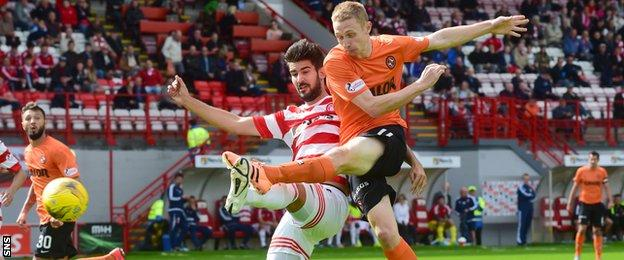 Dundee United's Chris Erskine fires a shot on goal