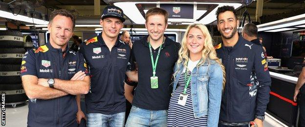 Laura Trott and Jason Kenny in the Red Bull garage