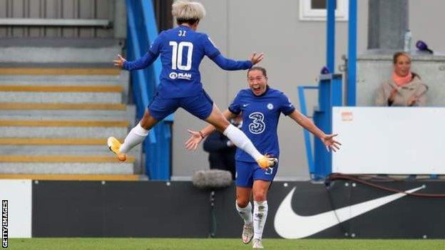 Chelsea players celebrate Fran Kirby's goal