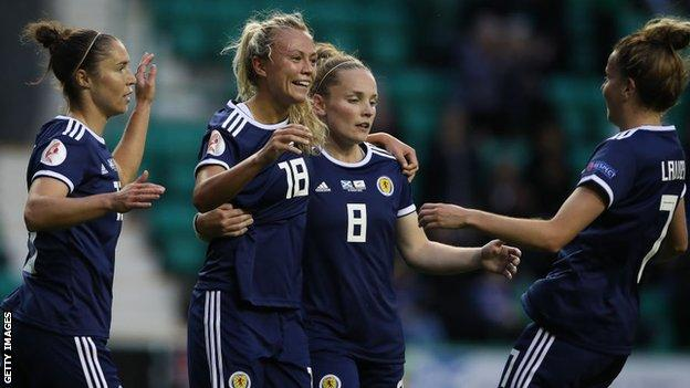 Scotland forward Claire Emslie, second left, thrived on loan at Melbourne City