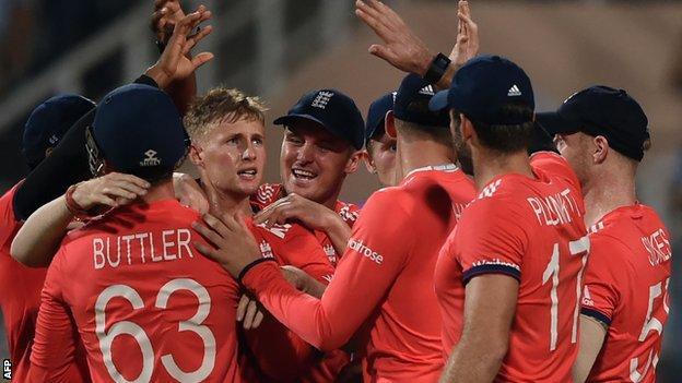 Joe Root celebrates a wicket in the World Twenty20 final