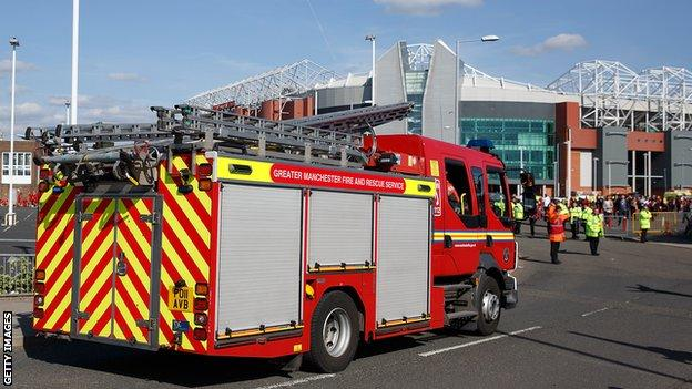 Fire engine at Old Trafford
