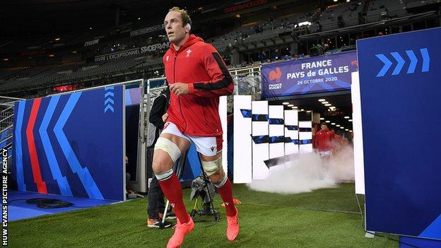 Wales captain Alun Wyn Jones runs out in Paris for his world record equalling 148th international