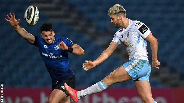 Leinster's Cian Kelleher and Glasgow Warriors' Adam Hastings