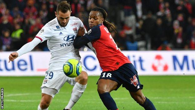 Lille's Portuguese midfielder Renato Sanches (R) vies with Lyon's French midfielder Lucas Tousart during the French L1 football match between Lille LOSC and Olympique Lyonnais at the Pierre-Mauroy stadium in Villeneuve-d'Ascq, near Lille, northern France.