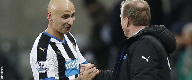 Newcastle midfielder Jonjo Shelvey (left) and manager Steve McClaren