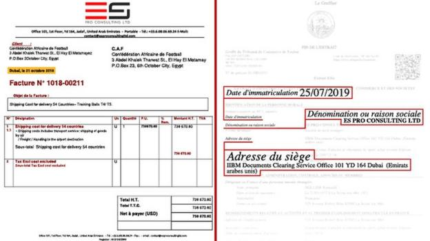 An invoice from ES Pro Consulting Limited next to the company's certificate of incorporation
