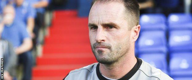 Darren Kelly during time as Oldham Athletic boss