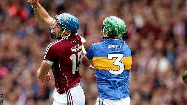 Conor Cooney and James Barry in action during the semi-final at Croke Park