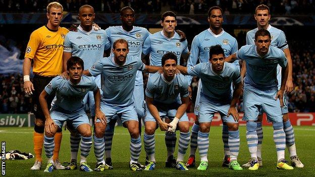 Sergio Aguero (front row, second right) lines up before City's first Champions League game, against Napoli in 2011