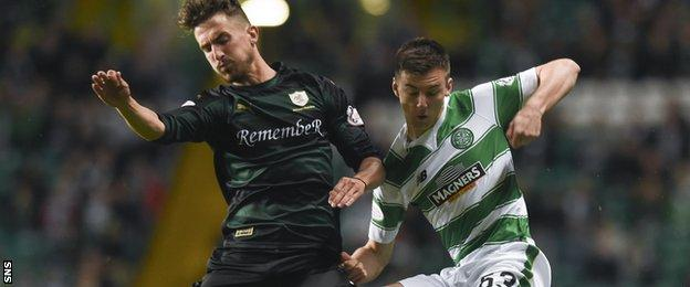 Kieran Tierney (right) started for Celtic at the age of 18