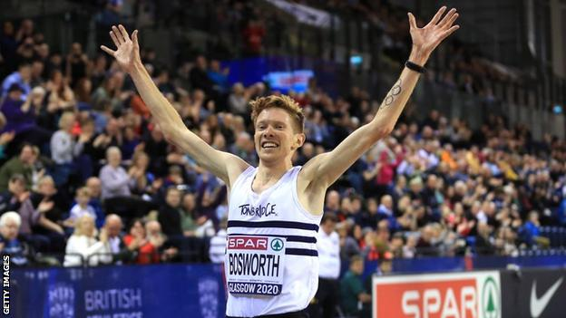 Tom Bosworth celebrates victory in the men's 5000m race walk at the 2020 British Indoor Championships in February