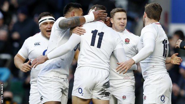 England celebrate try