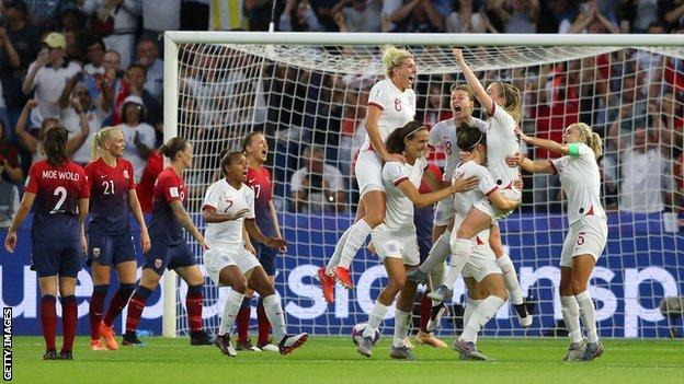 England celebrating a goal against Norway in the 2019 Women's World Cup quarter-final