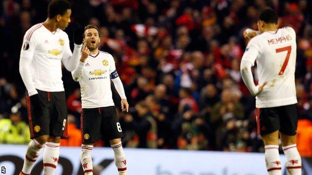 Manchester United players at Anfield