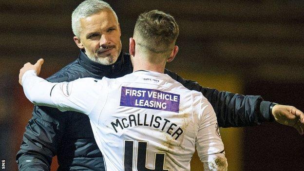 St Mirren manager Jim Goodwin congratulates Kyle McAllister